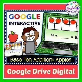 Digital Task Cards for Google Classroom: Base Ten (Apple Theme)