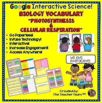 Biology Photosynthesis-Respiration Vocabulary Google Drive Activities