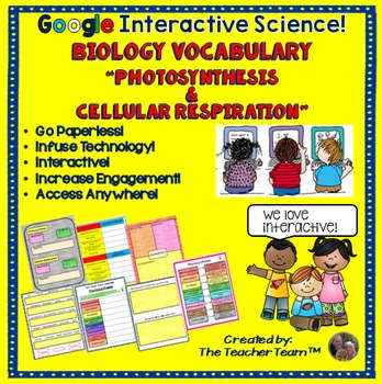 biology photosynthesis respiration vocabulary google drive activities