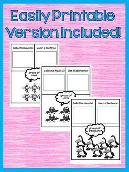 Collective Nouns 2nd Grade Interactive Notebook  Google Drive Activities