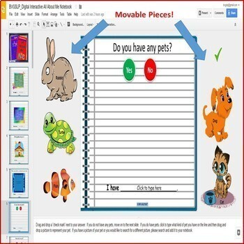 Google Drive Digital Interactive Notebook All About Me NO PRINT Teletherapy