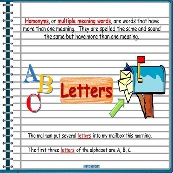 Google Drive Digital Interactive Notebook Multiple Meaning Words - Homonyms