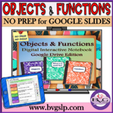 Google Drive Digital Interactive Notebook Objects and Functions Vocabulary