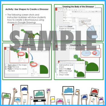 Google Drive Activity Create Dinosaurs using Shapes in Google Drawings