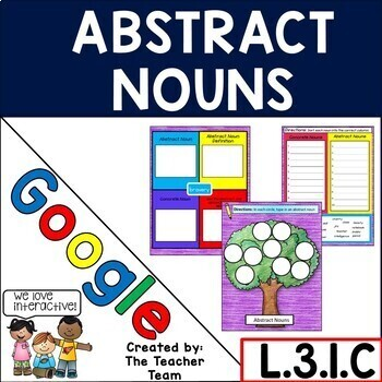 Abstract Nouns ELA Grammar Practice Google Drive Activities L.3.1.C