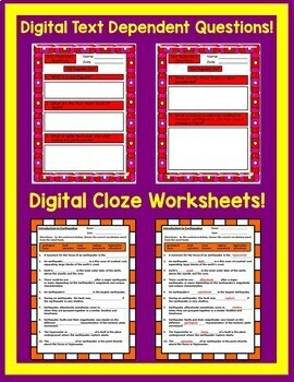 Earthquake Unit Interactive Notebook Google Drive Activities with Close Reading