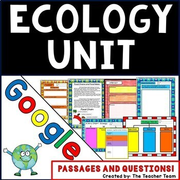 Ecology Unit Interactive Notebook Google Drive Activities with Close Reading