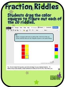 Google Drive Fraction Riddle Task Cards - Based on my Best Seller!