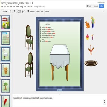 Digital Following Directions Interactive Unit for Google Drive - Teletherapy