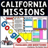 California Missions Unit~ Passages and Questions for Google Classroom