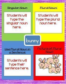 Irregular Plural Nouns Interactive Notebook Google Drive Activities