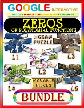 Google Drive JIGSAW PUZZLE BUNDLE: Zeros of Polynomial Functions (5 Levels)