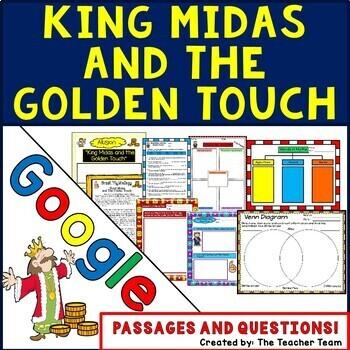 King Midas Interactive Notebook Google Drive Activities for Greek Mythology Unit