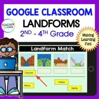Google Classroom Activities LANDFORMS Digital Task Cards
