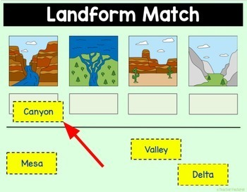 Google Classroom Activities | GEOGRAPHY LANDFORMS | Digital Task Cards