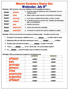 Google Drive: Monster by Walter Dean Myers Chapter Vocabulary Quizzes