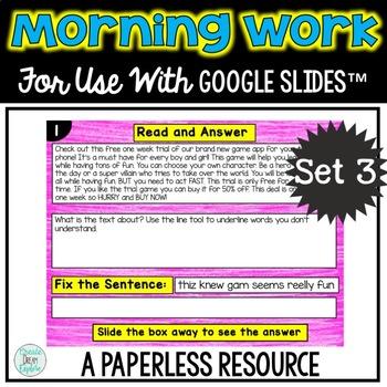 Google Drive Morning Work or Literacy Center Set 3