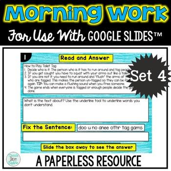 Google Drive Morning Work or Literacy Center Set 4