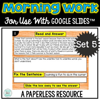 Morning Work or Center for use with GOOGLE DRIVE™ or a paperless classroom.