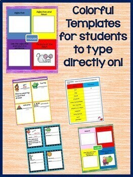 Nouns, Pronouns, Adjectives, & Adverb Interactive Notebook for Google Drive
