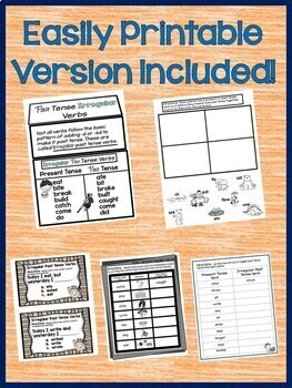 Past Tense Irregular Verbs  Interactive Notebook for Google Drive