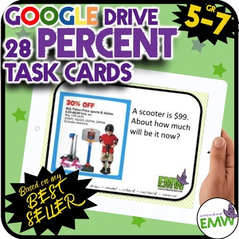 Google Drive Percent Task Cards - Based on my Best Seller!