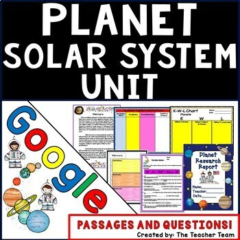 Planets and Solar System Unit Interactive Notebook Google Drive Activities