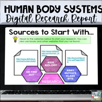 Digital & Printable - Human Body Systems Research Report for Google Drive