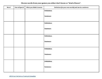 Google Drive Product: Using Word Games for Word Study