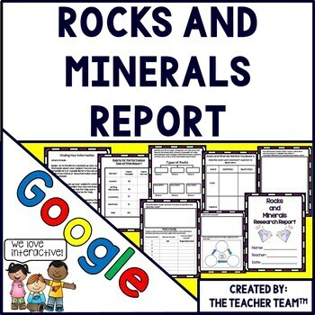 Rocks and Minerals Report Interactive Notebook Google Drive Activities