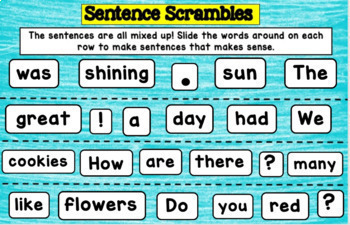 Google Drive Sentence Scrambles for Word Work
