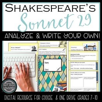 Shakespeare's Sonnet 29 Digital notebook {Google Classroom & One Drive}