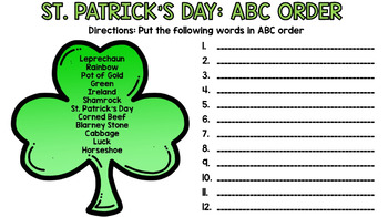 Google Drive - St. Patrick's Day - Special Education - Life Skills - Reading