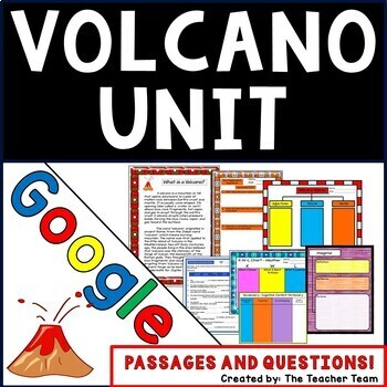 Volcano Unit Interactive Notebook Google Drive Activities with Close Reading