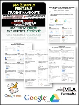 Google Drive and Docs using MLA Formatting: Step-by-step PRINTABLE for Students