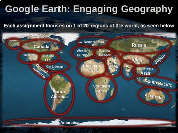 Google Earth: Engaging Geography assignment (20 different assignments by region)