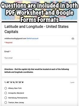 Latitude and Longitude Worksheet Bundle