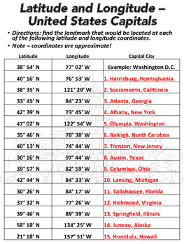 Latitude And Longitude Worksheet US Capitals TpT - Map of the us with longitude and latitude