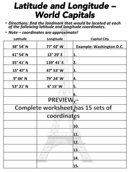 Latitude And Longitude Worksheet | Teachers Pay Teachers