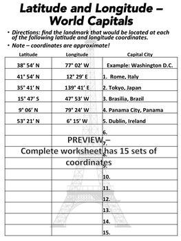 Latitude and Longitude Worksheet - World Capitals