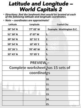 Latitude and Longitude Worksheet: World Capitals 2