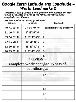 Latitude and Longitude Worksheet: World Landmarks 2