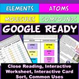Google Elements Atoms Compounds Molecules Card Sort Worksheet Distance Learning