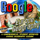Google Classroom Europe Physical Geography Lesson & Map Activity with Quiz!