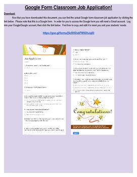 Google Form Classroom Job Application