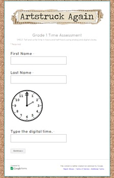 Google Form Common Core Measurement & Data Math Assessment (Grade 1)
