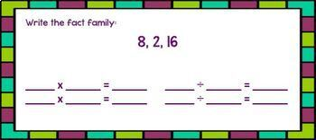 Google Form Fact Families: DIGITAL Task Cards