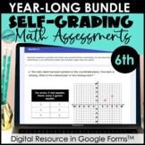 Google Form Math Assessments | 6th Grade Year-Long Bundle