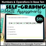 Google Form Math Assessments | Decimals (NBT) | 5th Grade