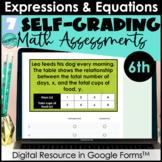 Google Form Math Assessments | Expressions, Equations, Ine